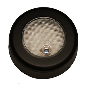 "3"" ROUND INTERIOR LED CLICK LIGHT, BLACK , W / BEZEL"