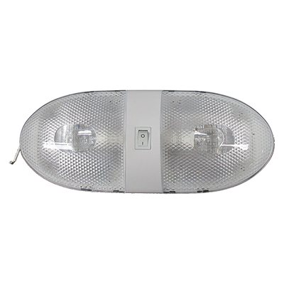 INCANDESCENT RV INTERIOR WHITE PANCAKE LIGHT, DOUBLE DOME