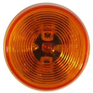 """2.5"""" ROUND LED MARKER LIGHT, 3 DIODE, AMBER w / TWO WIRE SPADES"""