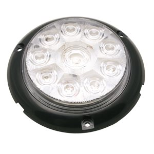 "UTILITY LIGHT, 6"" ROUND, 10 DIODE, WHITE, CLEAR LENS, SURFACE MOUNT, BARE WIRE"