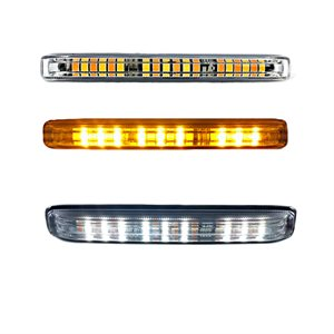 LED WARNING GRILLE FLASHER LIGHT, AMBER / WHITE