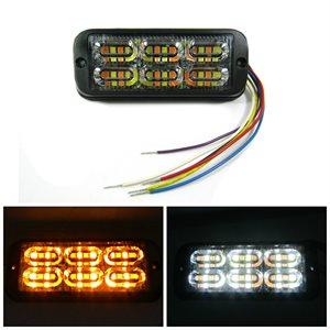 "WARNING / STROBE LED LIGHT HEAD, FLASHING AMBER / WHITE, 4.65""L"