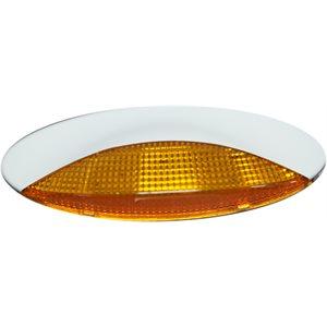 EURO STYLED PORCH LIGHT, WHITE, AMBER LENS- LED