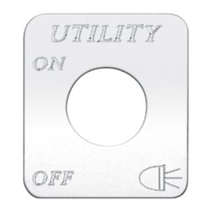 """SWITCH PLATE- """"UTILITY LIGHTS, ON / OFF"""" ENGRAVED"""