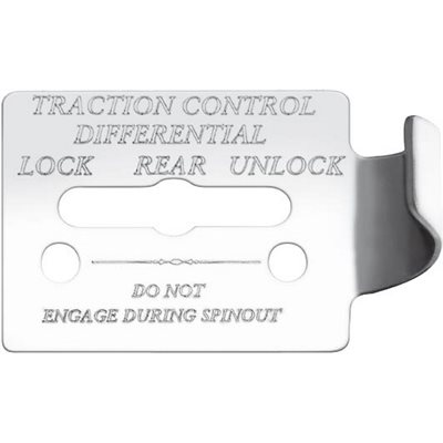 """FREIGHTLINER SWITCH GUARD PLATE, -""""TRACTION CONTROL DIFFERENTIAL, W / LOCK / REAR / UNLOCK"""", FLD CLASSIC, ENGRAVED"""