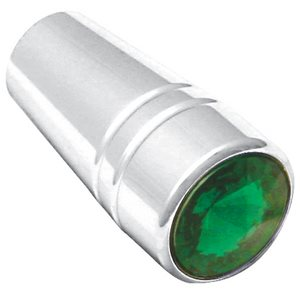 TOGGLE SWITCH EXTENDERS, PB- GUARDED, CHROME, W / GREEN JEWEL, 3 / PK