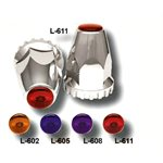 LUG NUT COVER, 33MM AMBER REFLECTIVE, CHROME ,UNIVERSAL