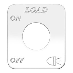 """SWITCH PLATE- """"LOAD LIGHTS, ON / OFF"""" ENGRAVED"""