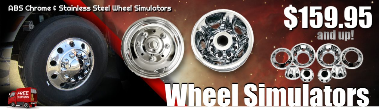 WHEEL SIMULATORS, CHROME ABS AND STAINLESS STEEL